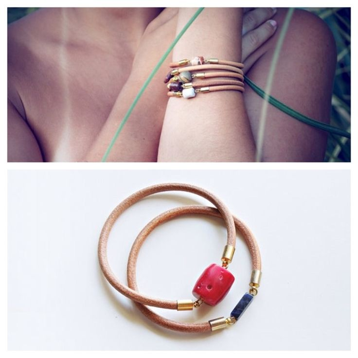 Real leather bracelet with gold plated end caps, Coral and Lapis Lazuli stone bead