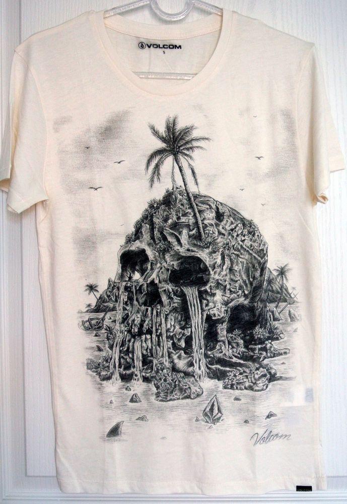 VOLCOM Isla Muerta T-shirt S/M/L/XL Skull Print Off-White Cotton Tee #Volcom #GraphicTee