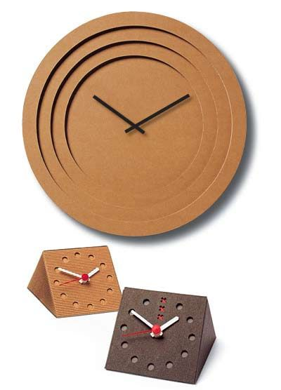 time in cardboard: corrugated wall and desk clocks
