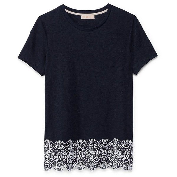 Tory Burch Malaya Tee ($135) ❤ liked on Polyvore featuring tops, t-shirts, crewneck tee, crew-neck tee, blue top, embroidered t shirts and jersey t shirt