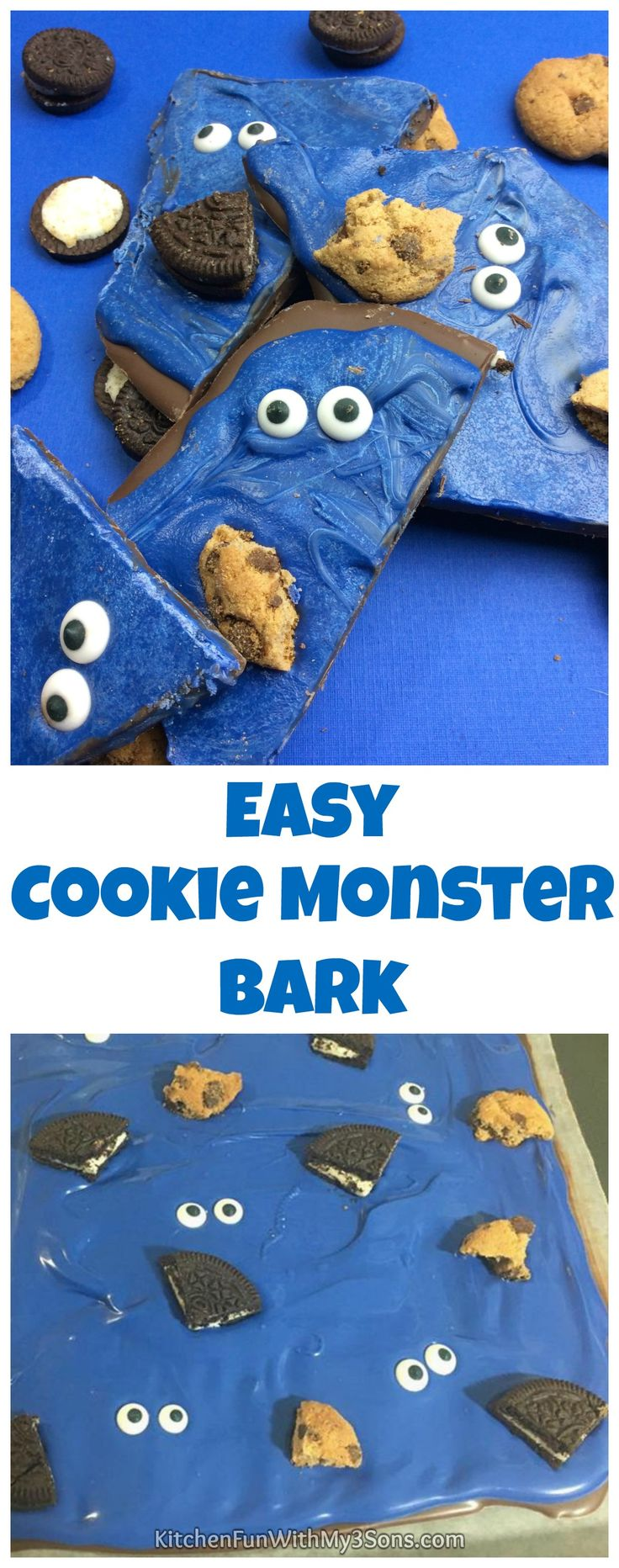 This Cookie Monster Bark is so adorable and easy to make! Your little Sesame Street fans will absolutely LOVE this fun treat.