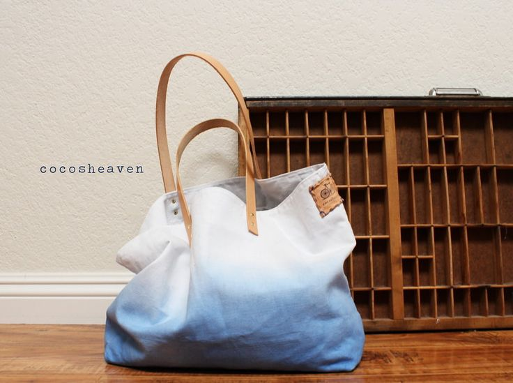 CANVAS TOTE BAGBlue with leather strapmedium size by cocosheaven
