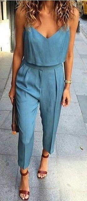 #summer #outfits  Chambray Jumpsuit + Brown Sandals