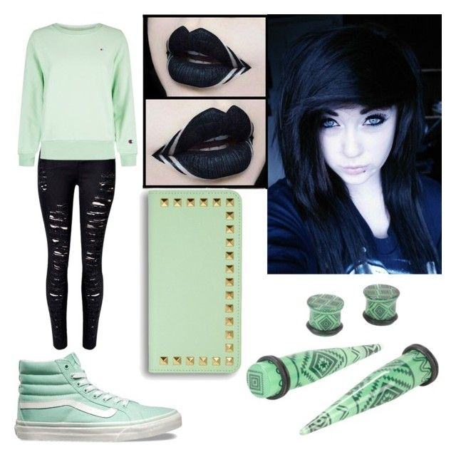 """Serene at Sea #5 (emo version)"" by raineingboties on Polyvore featuring Vans, WithChic and Champion"