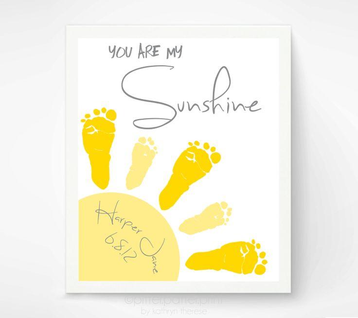 Baby Footprint Art  You Are My Sunshine Art by PitterPatterPrint, $30.00