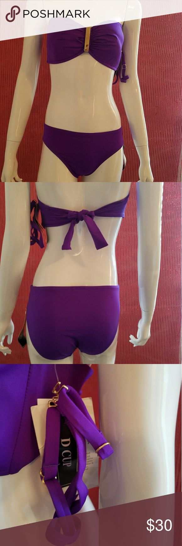 NWT 2Bamboo Bikini Set D cup NWT 2Bamboo Bikini Set. This is bra sized swimwear. Top fits from 32D-34D. Bottom is size: small. Top has nice gold accent in middle. Has optional straps.  Top has MSRP of $65 & Bottom has MSRP of $37. ** Sorry, no trades. Please do not post offers in comments ** 2Bamboo Swim Bikinis