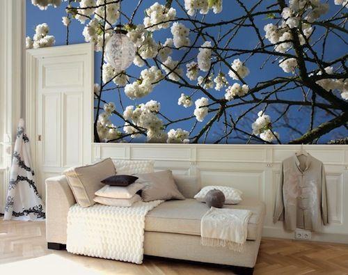 blauw met bloem behang
