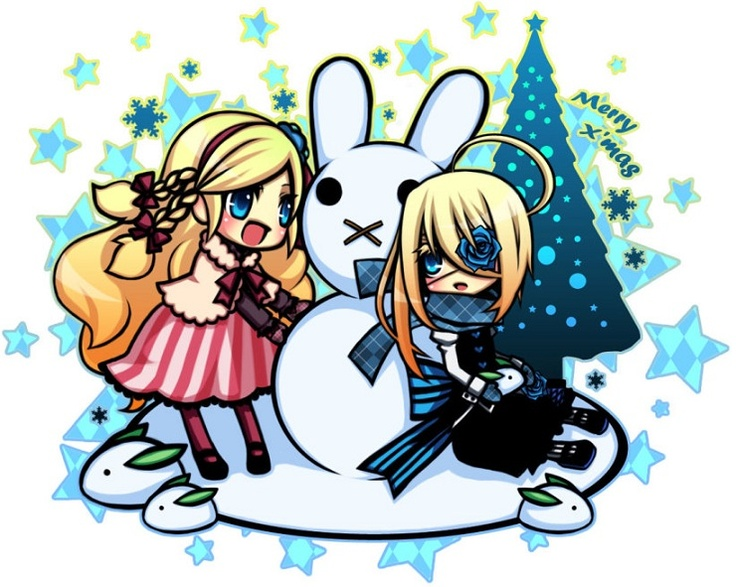 Cute Chibi Twins Anime Girls making a Snowman for