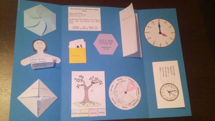 Lapbook Monate, Jahreszeiten, Kalender, Tagesablauf, Datum, Uhr