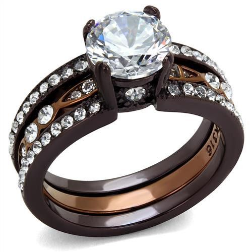 3.35CT Perfect Round Diamond Cut Solitaire Russian Lab Diamond Chocolate and Coffee Stainless Steel Engagement Wedding Bridal Set