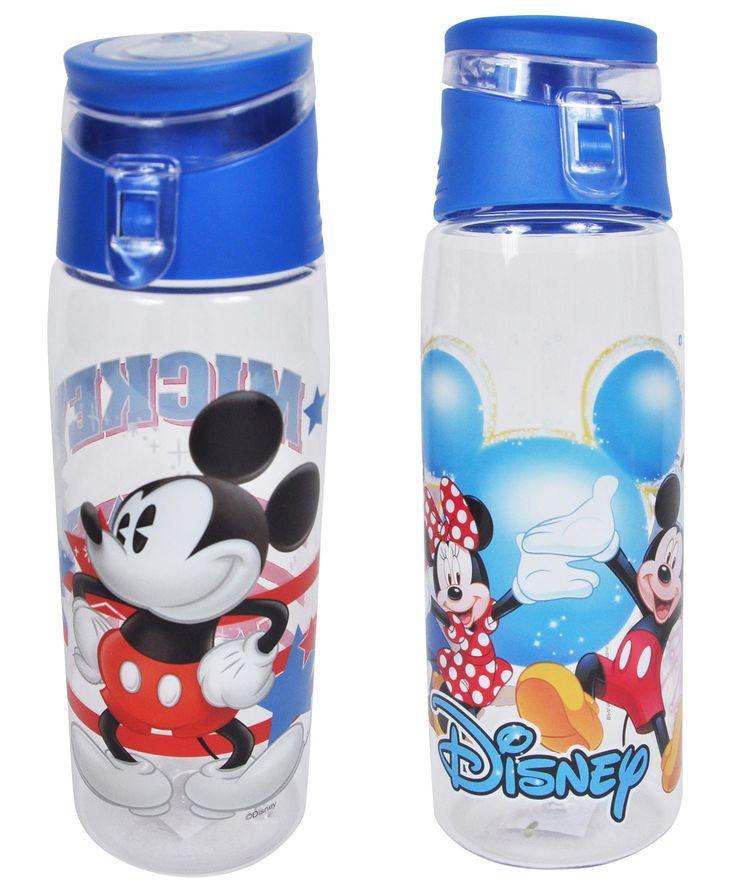 Disney Mickey Mouse Blue Flip Top BPA-FREE Water Bottles 2PK