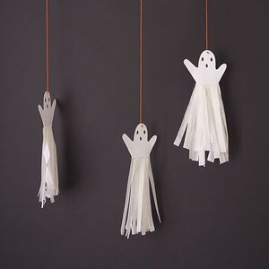 Hanging Ghost Tassel Decoration Set Of Six - Turn your happy home into a haunted mansion or spooky space with the help of our Halloween decorations. We can help you create a killer kitchen, doomed dining room and frightening foyer. Fill your home with orange and black decorations and really embrace the spookiest party of the year.