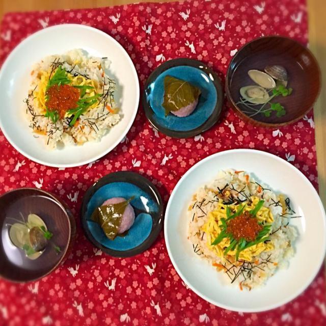 娘の初節句 - 14件のもぐもぐ - ちらし寿司、はまぐりのお吸い物、桜餅。 by asumi1022