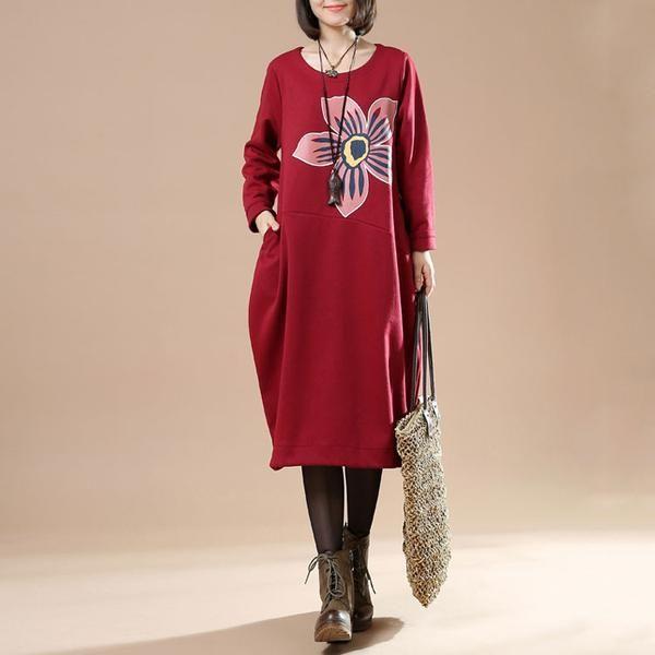 Autumn Plue Size Female Casual Long Sleeve Round Neck Printing Irregular Long…