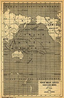 Nautilus' route through the Pacific. (Jules Verne - 20,000 Leagues Under the Sea)
