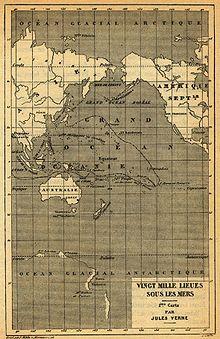 Nautilus' route through the Pacific. (Jules Verne - 20,000 Leagues Under the Sea)