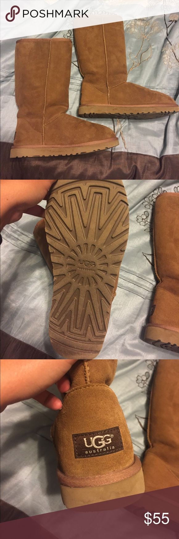 Tall brown Ugg boots These boots are real Ugg brand. They are in good condition and only have a little damage on around the bottom soles. UGG Shoes Winter & Rain Boots