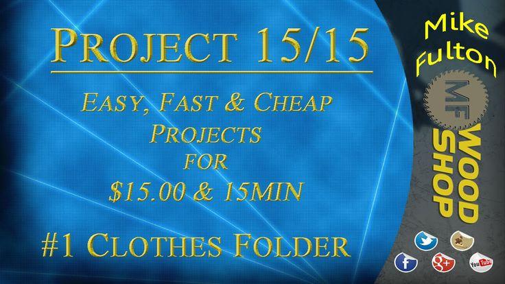 DIY Clothes Folder - $15 or less / 15 minutes or less from Mike Fulton #1 Project 15/15 (Clothes Folder) #hardboard #MDF  1/4 inch recommended #pianohinge #DIYcraftsandart #clotheshacks  #tshirtfolder #organizingandstorage #householdtipstricksandDIY #foldingclothes #laundryhacks https://youtu.be/oCumyy6xbjs https://www.mfwoodshop.com