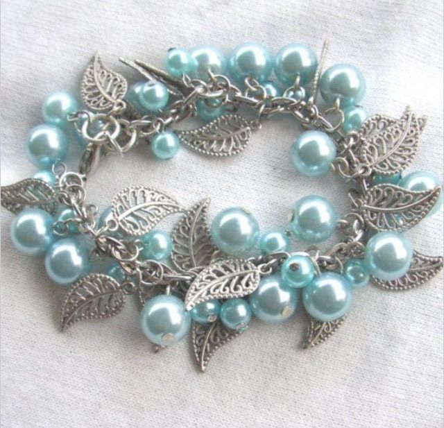Leaves and Pearls bracelet at crafted.storenvy.com