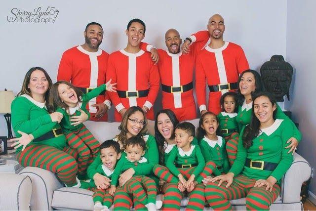 www.diaperbaglifestyle.com Friendsgiving, elf pajamas, Target pajamas, santa pajamas, group picture