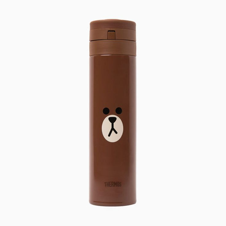 [New] THERMOS x LINE FRIENDS One Touch Open Type Brown Bottle (0.45L)