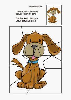 kerajinan anak balita/TK, membuat sendiri puzzle anjing
