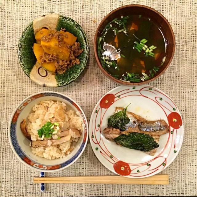 鰯の香草焼き 松茸御飯 かぼちゃのそぼろ餡 - 57件のもぐもぐ - 今夜の夕食 by yumi
