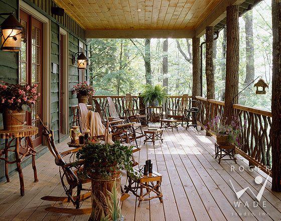 204 best cabin decks porches images on pinterest for Rustic porches and decks