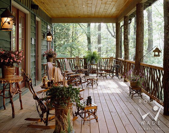 Lovely porch on the Cashiers, NC campy homeRustic Porches, Country Porches, Dreams Cabin, Rustic Looks, Dreams House, Dreams Porches, Timber Frames, Country Look, Front Porches