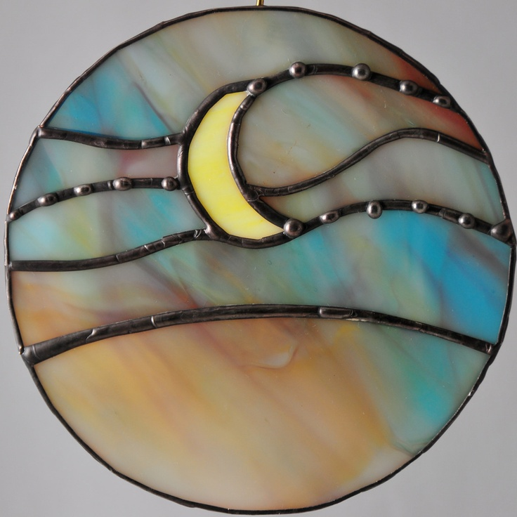 Yellow Moon in the Sky circle stained glass by peaceloveglass