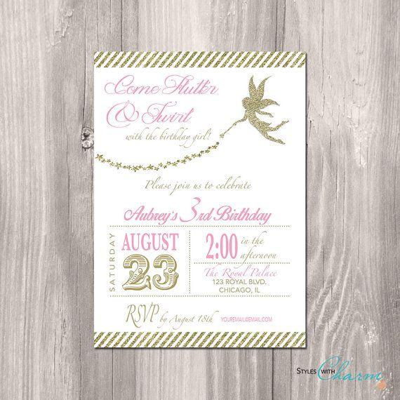 Fairy Princess Birthday Invitation Tinkerbell by StyleswithCharm, $12.00
