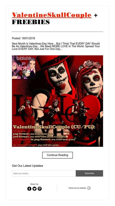 ValentineSkullCouple + FREEBIES
