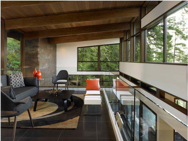 Gambier Island Custom Home Great Room Loft Modern Living Room Vancouver My House Design Build Team