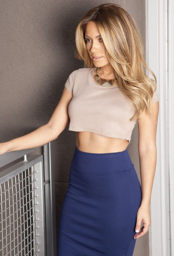 The skirt is fine, but bare midriffs are not a fit for the office