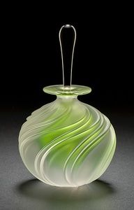 Apple Green Swirl Perfume: Mary Angus: Art Glass Perfume Bottle