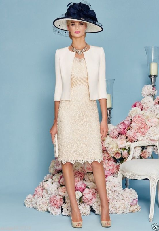 Modern Mother of the Bride Lace Dresses Beading Half Sleeve Jacket Women Dress