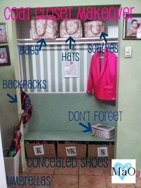 Organizing Coat closet.   madaboutorganizing.blogspot.ca