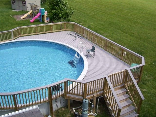 Timbertech composite decking on this pool deck in plainfield il provides a splinter free - Above ground composite pool deck ...