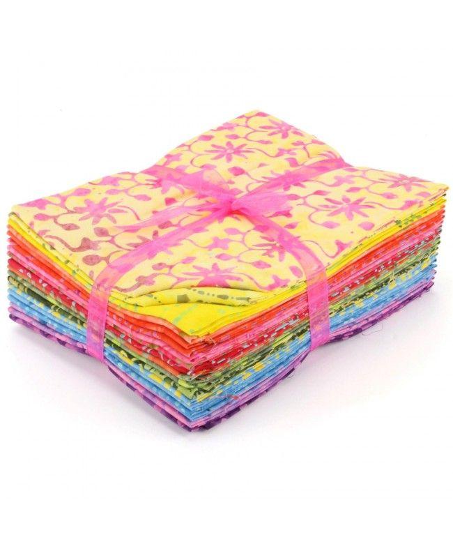 LOUDelephant Cotton Batik Fat Quarter Pre Cut Fabric Bundle - Yellows to Purples