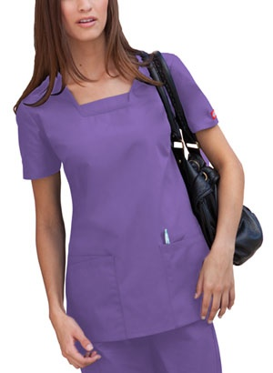 "About This Product  Classic Missy Fit top features a square neckline with a dickey inset, bust darts for shaping. Two patch pockets, two additional slanted pockets and side vents complete the look. Center back length: 27"".  Fabric: 65 Poly / 35 Cotton Poplin $12.99 #scrubs #nurses #nationalnursesweek #sale #dickies"