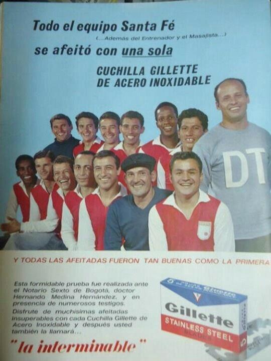 Santa Fe 1966 en publicidad de Gillete. (Bestiario del Balón).