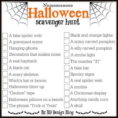Neighborhood Halloween Scavenger Hunt Printable.