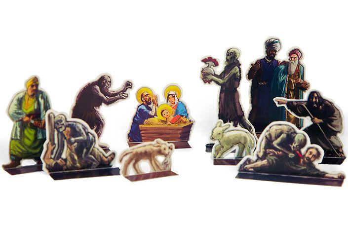 A (paper) zombie nativity scene.