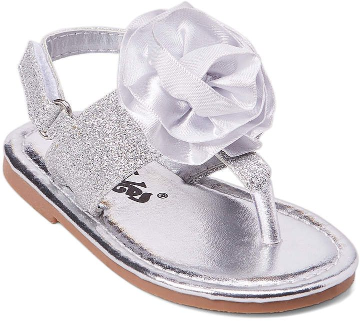 Silver Rose Accent Sandals For Little Girls Now On Sale Afflink