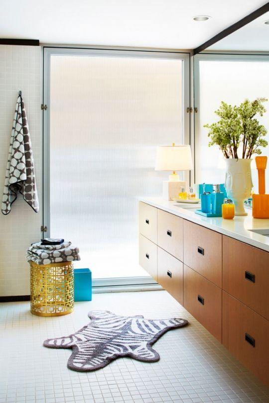 Best Bathrooms Images On Pinterest Vogue Living Bath And - Black and white zebra bath rug for bathroom decorating ideas
