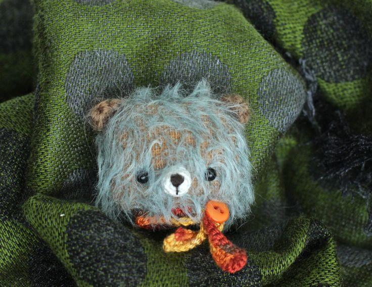 Animal brooch bear handmade brooch fabric bear amigurumi brooch soft teddy bear crochet mini bear blue brooch by KodamaLife on Etsy