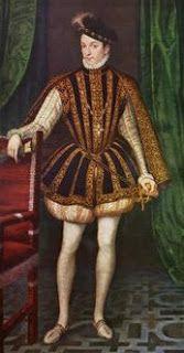 Retrato de Carlos IX, vestido con un jubón, calzas y capa corta de terciopelo. Resultaba muy masculino tener unas piernas bien torneadas, de manera que estas calzas se llevan para resaltar este aspecto.