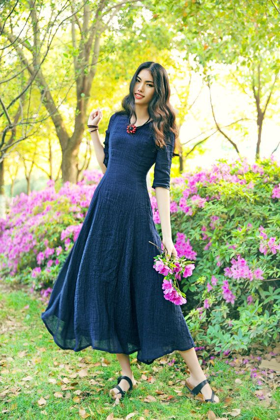 Hey, I found this really awesome Etsy listing at https://www.etsy.com/listing/232583443/navy-linen-evening-dress-long-dress