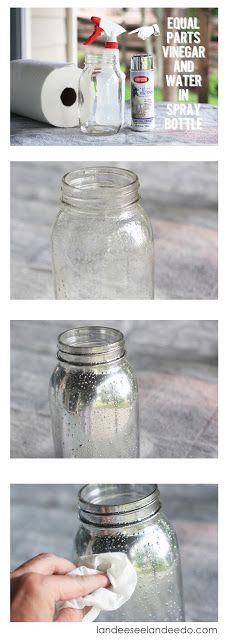 DIY Mercury glass mason jars. Looking glass spray paint, equal parts vinegar/water spray bottle. Spray with water mix then add light coat of spray paint. Allow to dry. Use a paper towel to wipe away bubbled areas for completed look.