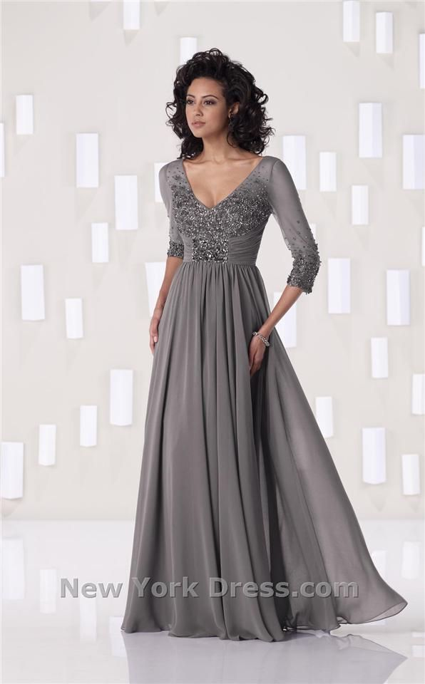 Kathy Ireland 2BE263 great gray modest formal dress for black tie event